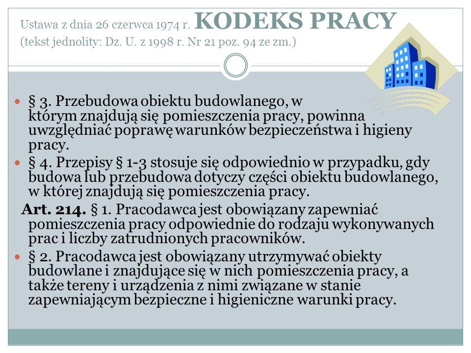 Ustawa z dnia 26 czerwca 1974 r. KODEKS PRACY (tekst jednolity: Dz. U