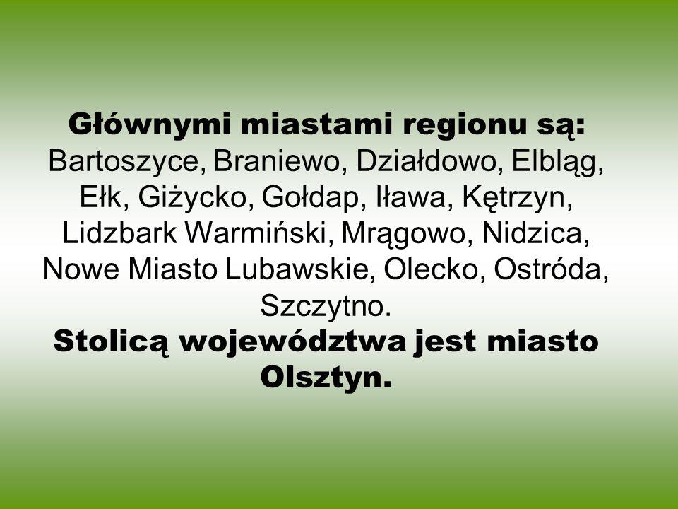 Głównymi miastami regionu są: Bartoszyce, Braniewo, Działdowo, Elbląg, Ełk, Giżycko, Gołdap, Iława, Kętrzyn, Lidzbark Warmiński, Mrągowo, Nidzica, Nowe Miasto Lubawskie, Olecko, Ostróda, Szczytno.