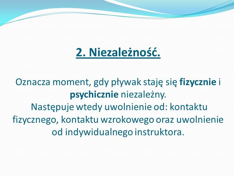 2.Niezależność. Oznacza moment, gdy pływak staję się fizycznie i psychicznie niezależny.