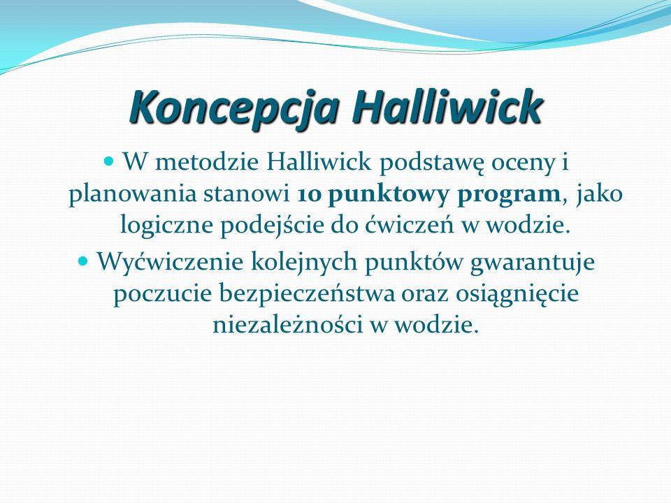 Koncepcja HalliwickW metodzie Halliwick podstawę oceny i planowania stanowi 10 punktowy program, jako logiczne podejście do ćwiczeń w wodzie.
