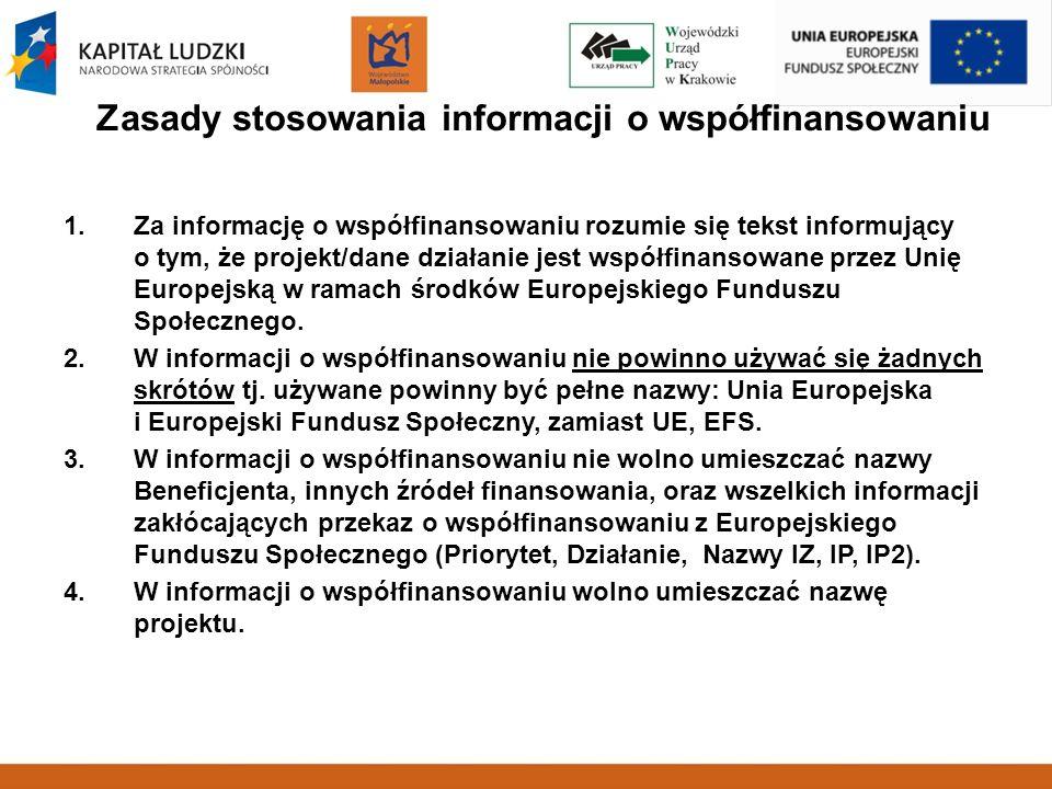 Zasady stosowania informacji o współfinansowaniu