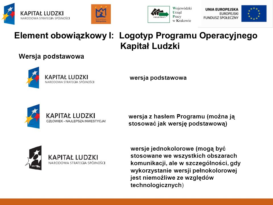 Element obowiązkowy I: Logotyp Programu Operacyjnego Kapitał Ludzki