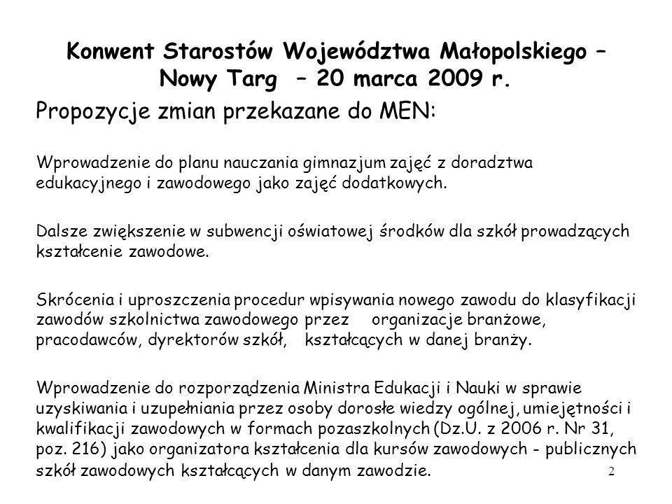 Propozycje zmian przekazane do MEN: