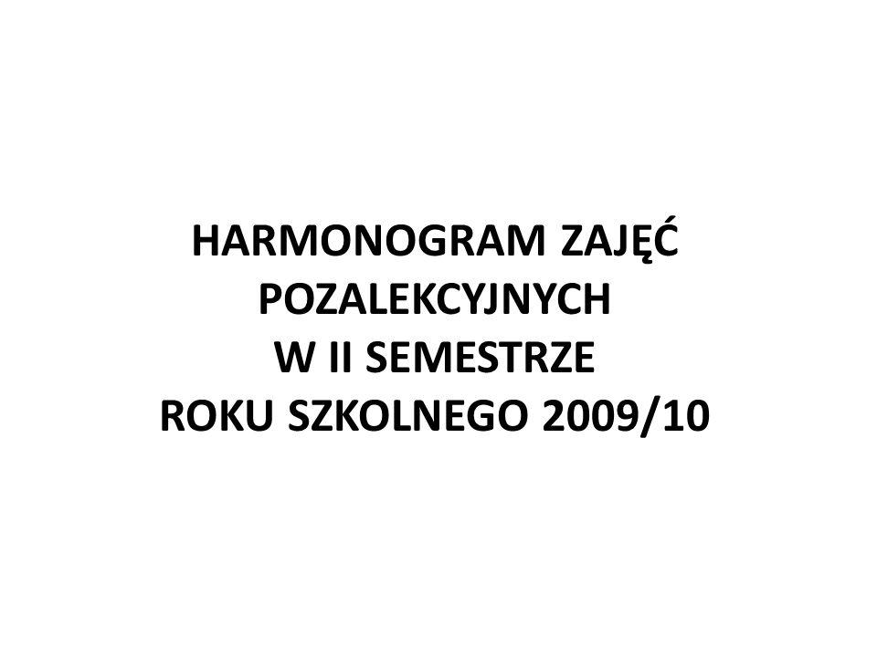 HARMONOGRAM ZAJĘĆ POZALEKCYJNYCH