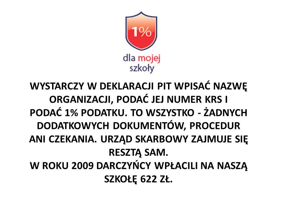 W ROKU 2009 DARCZYŃCY WPŁACILI NA NASZĄ SZKOŁĘ 622 ZŁ.