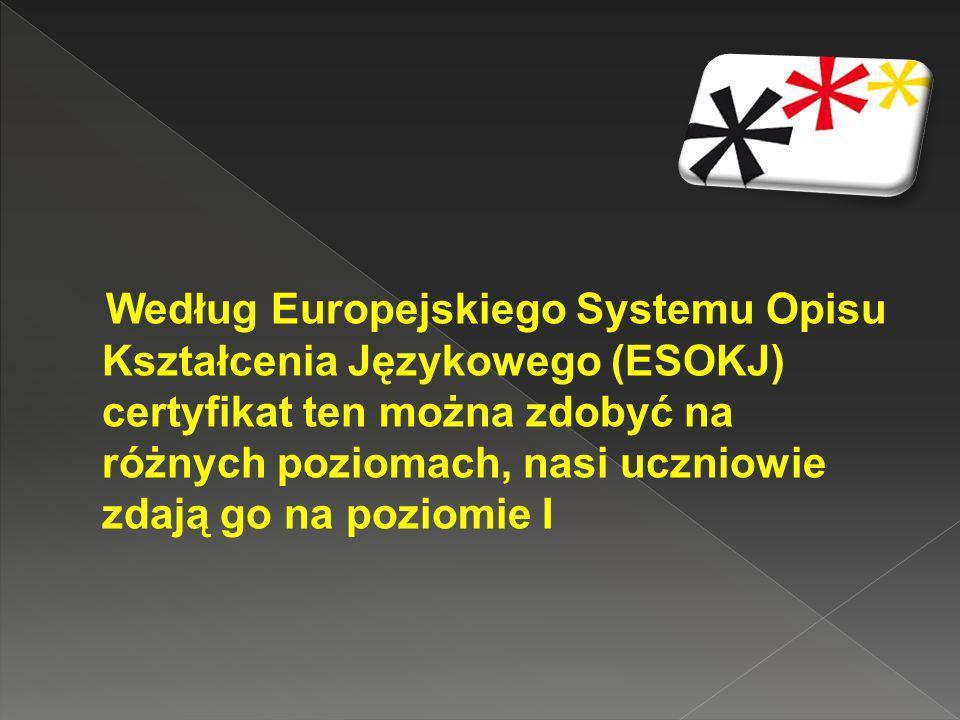 Według Europejskiego Systemu Opisu Kształcenia Językowego (ESOKJ) certyfikat ten można zdobyć na różnych poziomach, nasi uczniowie zdają go na poziomie I
