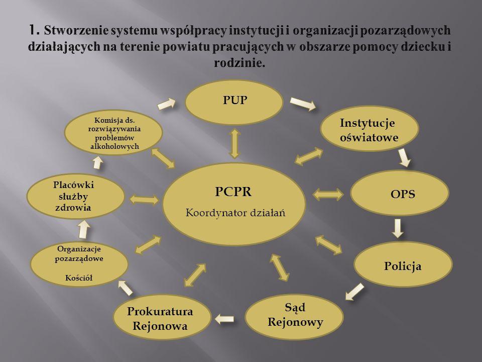1. Stworzenie systemu współpracy instytucji i organizacji pozarządowych działających na terenie powiatu pracujących w obszarze pomocy dziecku i rodzinie.