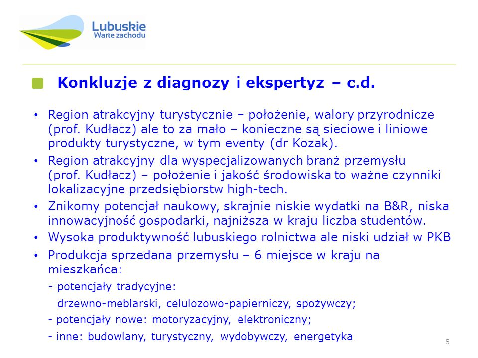 Konkluzje z diagnozy i ekspertyz – c.d.