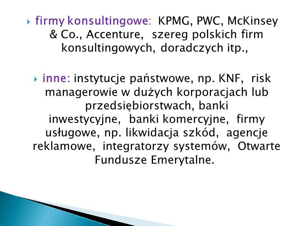 firmy konsultingowe: KPMG, PWC, McKinsey & Co