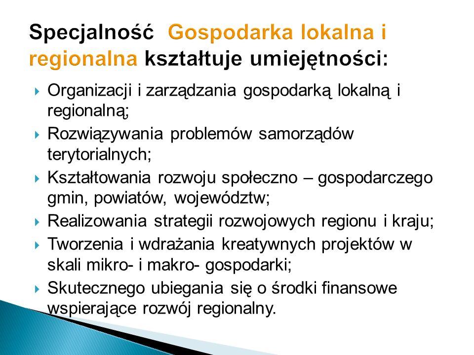 Specjalność Gospodarka lokalna i regionalna kształtuje umiejętności: