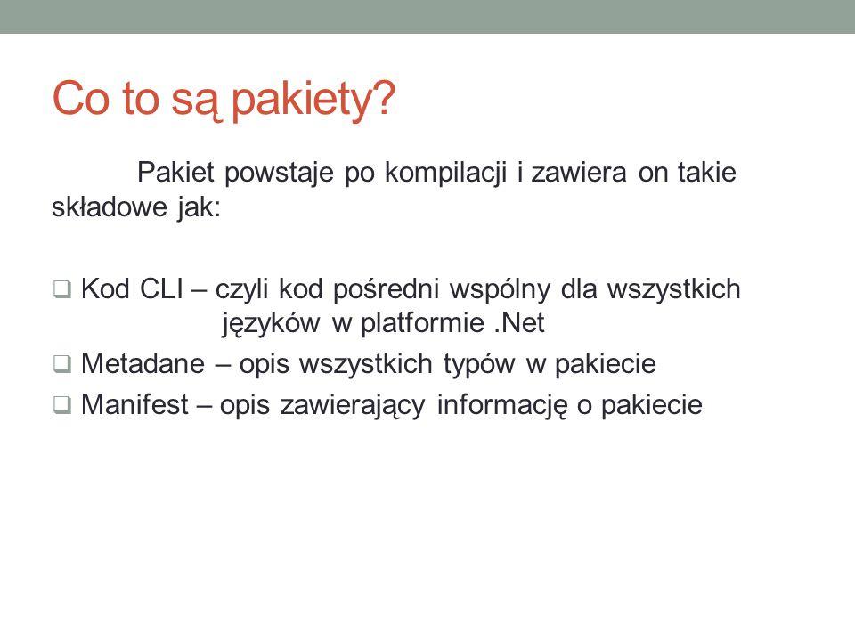 Co to są pakiety Pakiet powstaje po kompilacji i zawiera on takie składowe jak: