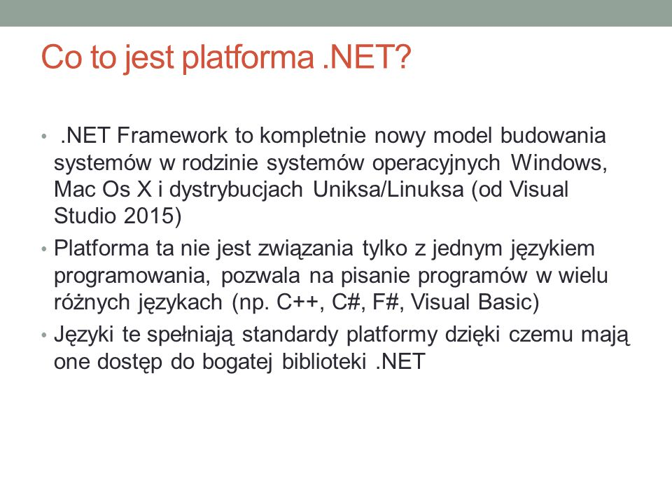 Co to jest platforma .NET