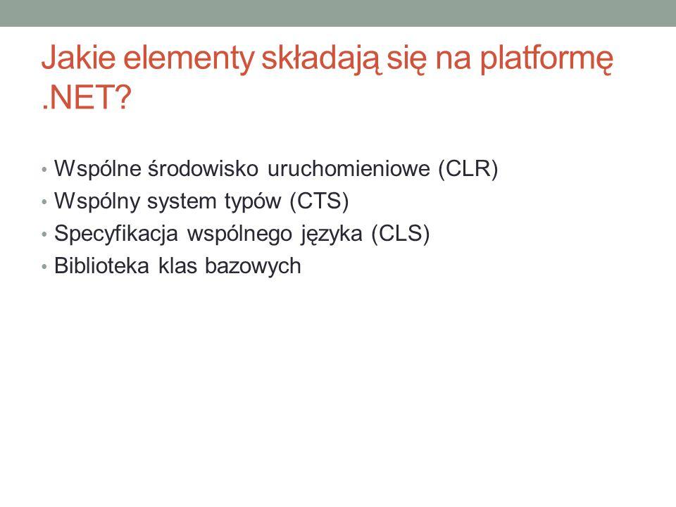 Jakie elementy składają się na platformę .NET