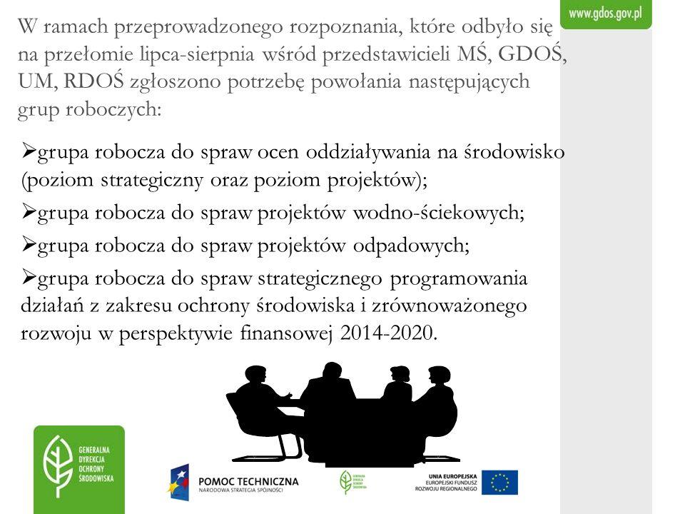 W ramach przeprowadzonego rozpoznania, które odbyło się na przełomie lipca-sierpnia wśród przedstawicieli MŚ, GDOŚ, UM, RDOŚ zgłoszono potrzebę powołania następujących grup roboczych: