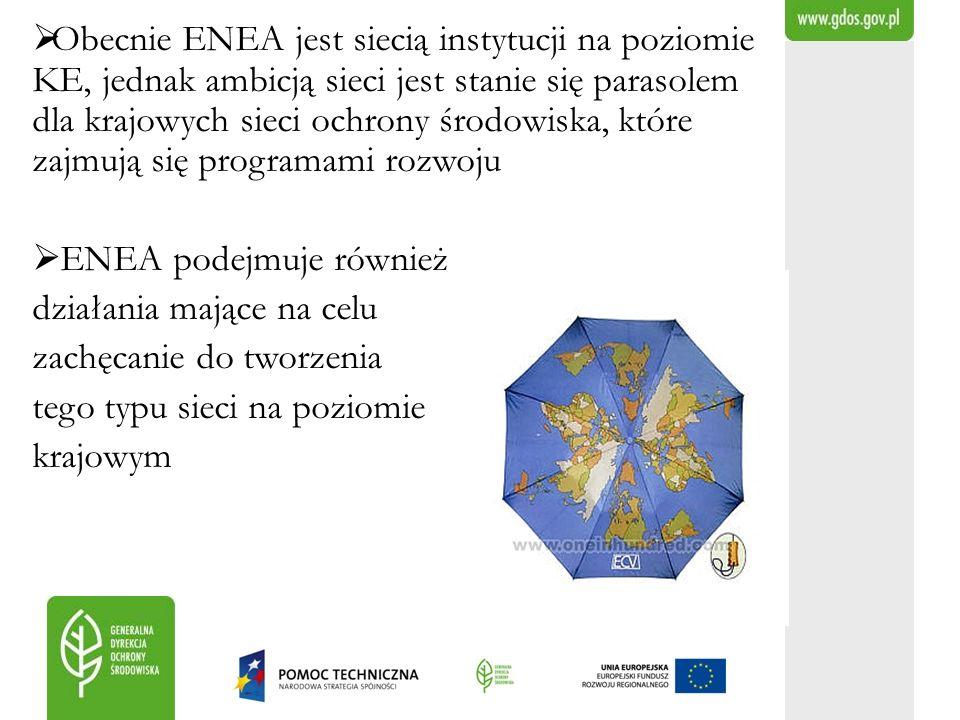 Obecnie ENEA jest siecią instytucji na poziomie KE, jednak ambicją sieci jest stanie się parasolem dla krajowych sieci ochrony środowiska, które zajmują się programami rozwoju