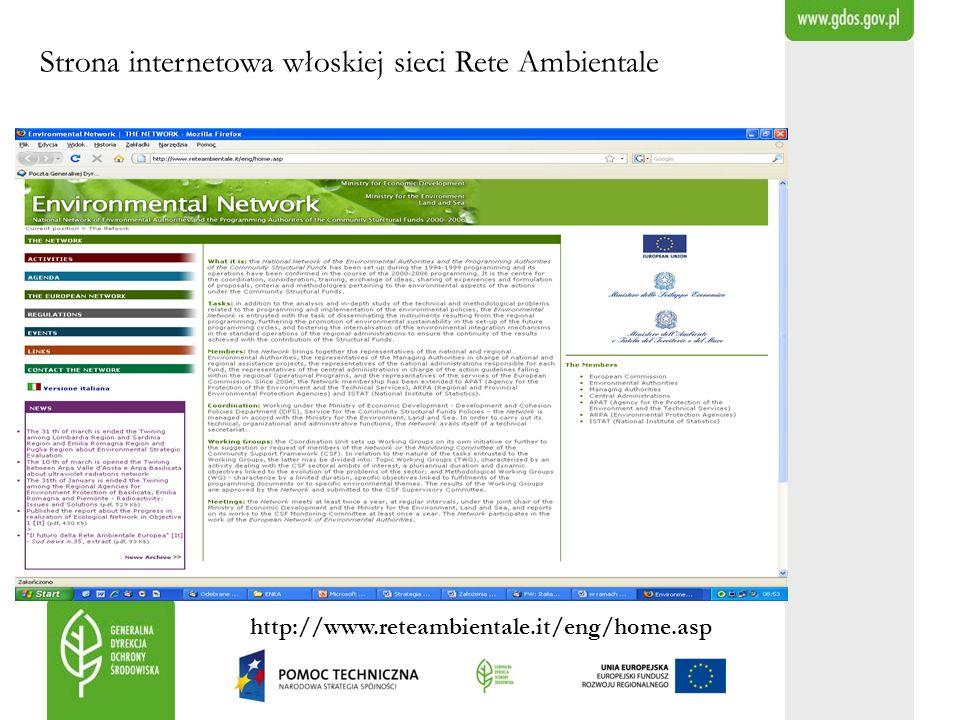 Strona internetowa włoskiej sieci Rete Ambientale