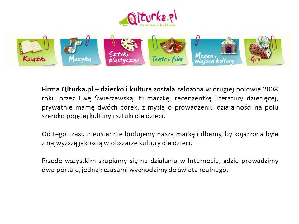 Firma Qlturka.pl – dziecko i kultura została założona w drugiej połowie 2008 roku przez Ewę Świerżewską, tłumaczkę, recenzentkę literatury dziecięcej, prywatnie mamę dwóch córek, z myślą o prowadzeniu działalności na polu szeroko pojętej kultury i sztuki dla dzieci.