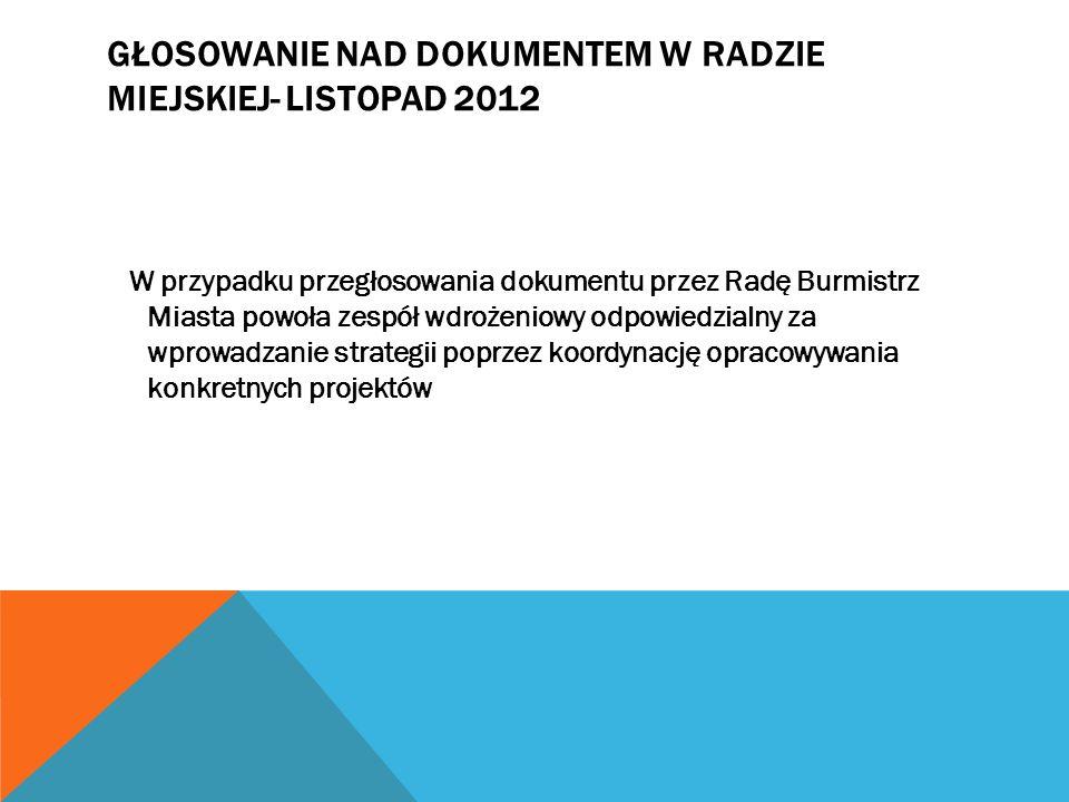 Głosowanie nad Dokumentem w Radzie Miejskiej- listopad 2012