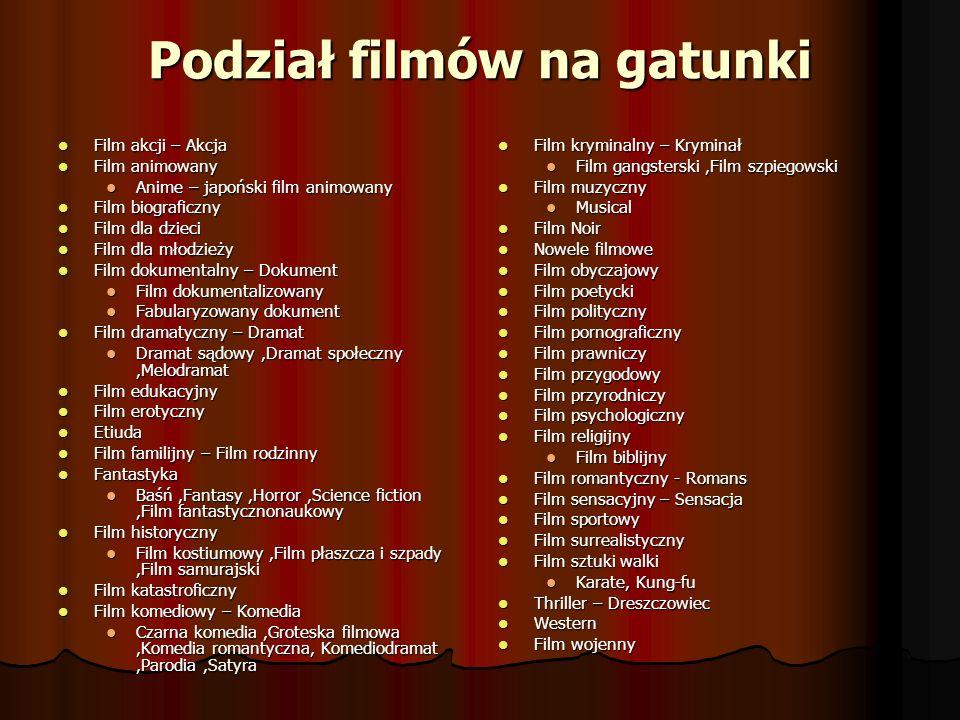 Podział filmów na gatunki