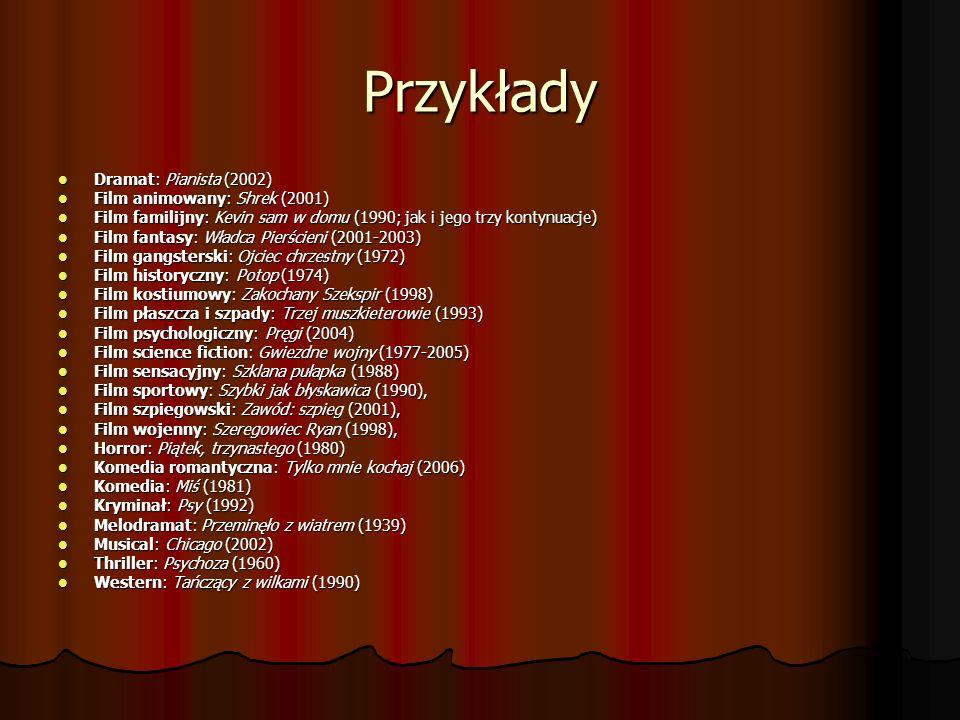 Przykłady Dramat: Pianista (2002) Film animowany: Shrek (2001)