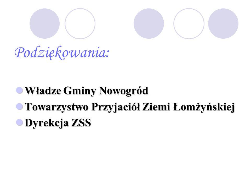 Podziękowania: Władze Gminy Nowogród