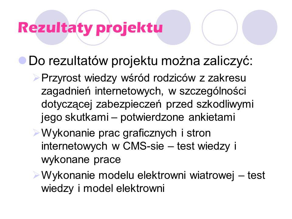 Rezultaty projektu Do rezultatów projektu można zaliczyć: