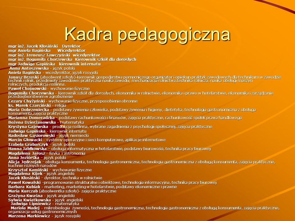 Kadra pedagogiczna mgr inż. Jacek Kłosiński Dyrektor