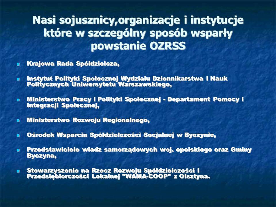 Nasi sojusznicy,organizacje i instytucje które w szczególny sposób wsparły powstanie OZRSS