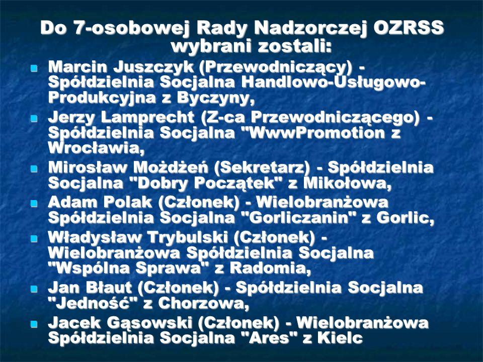 Do 7-osobowej Rady Nadzorczej OZRSS wybrani zostali:
