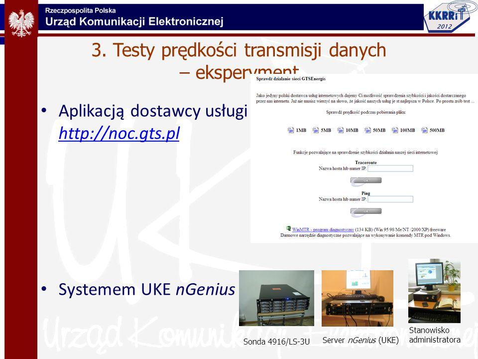3. Testy prędkości transmisji danych – eksperyment