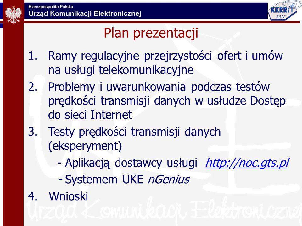Plan prezentacji Ramy regulacyjne przejrzystości ofert i umów na usługi telekomunikacyjne.