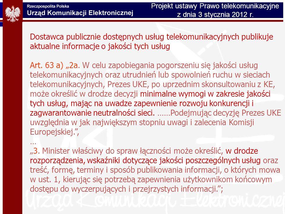 Projekt ustawy Prawo telekomunikacyjne
