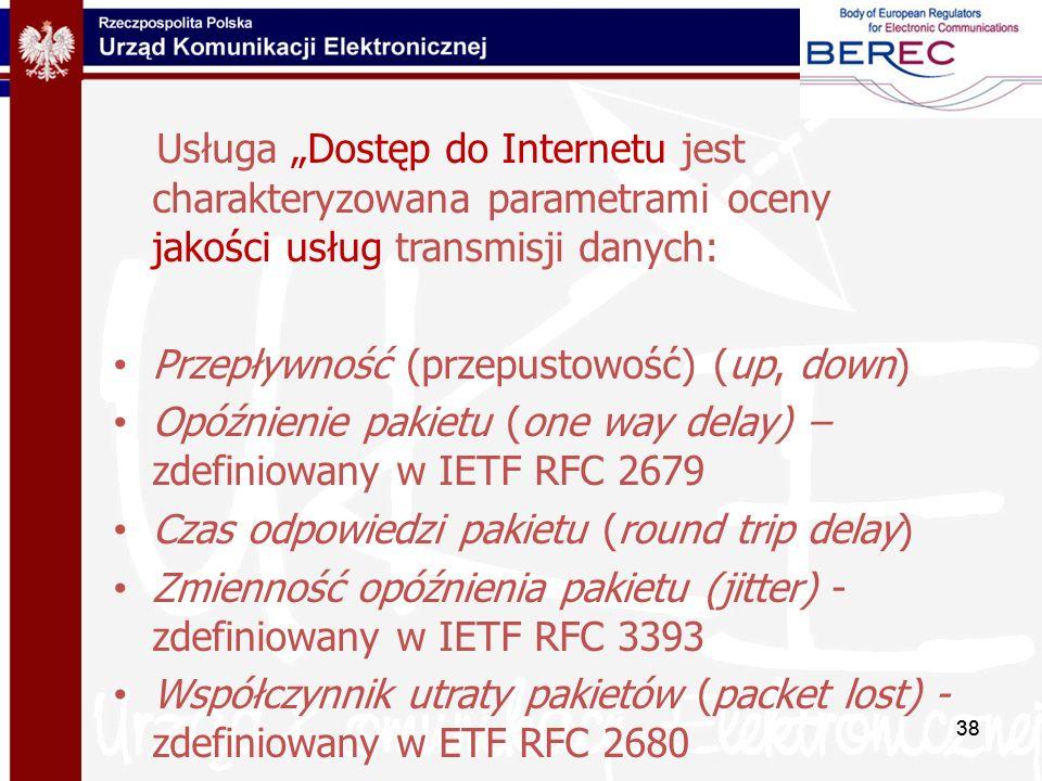"""Usługa """"Dostęp do Internetu jest charakteryzowana parametrami oceny jakości usług transmisji danych:"""
