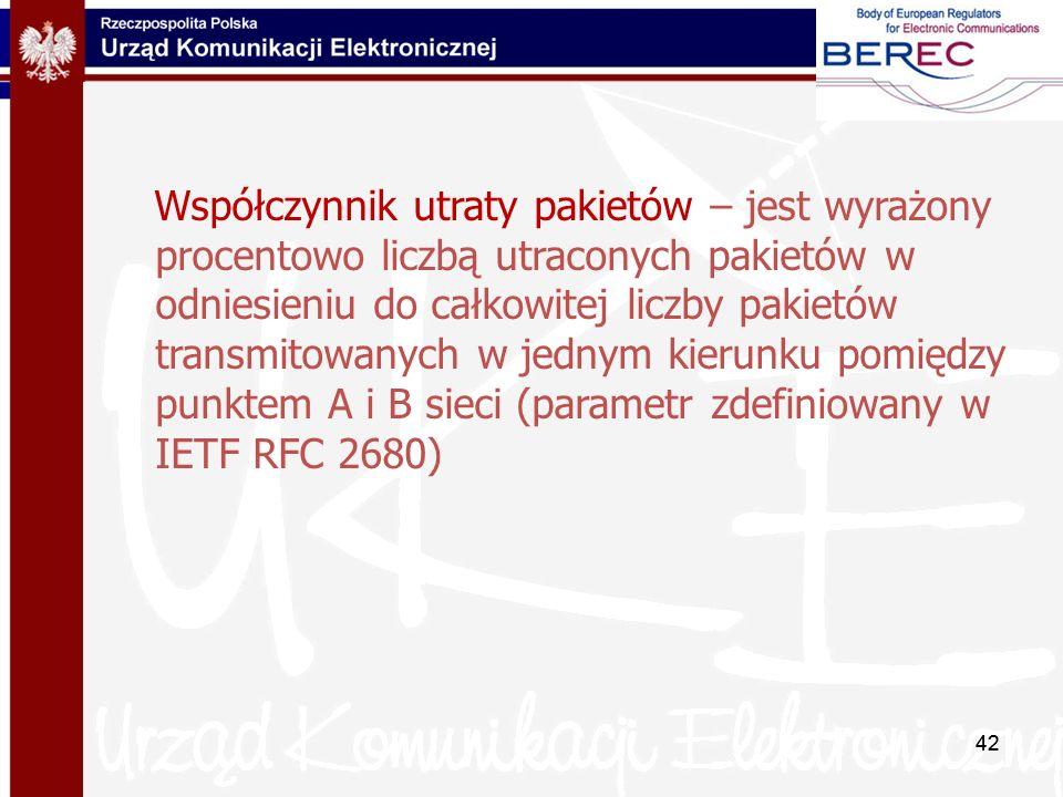 Współczynnik utraty pakietów – jest wyrażony procentowo liczbą utraconych pakietów w odniesieniu do całkowitej liczby pakietów transmitowanych w jednym kierunku pomiędzy punktem A i B sieci (parametr zdefiniowany w IETF RFC 2680)