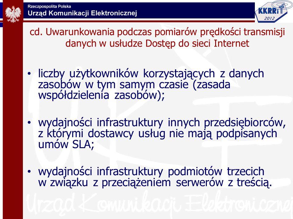 cd. Uwarunkowania podczas pomiarów prędkości transmisji danych w usłudze Dostęp do sieci Internet