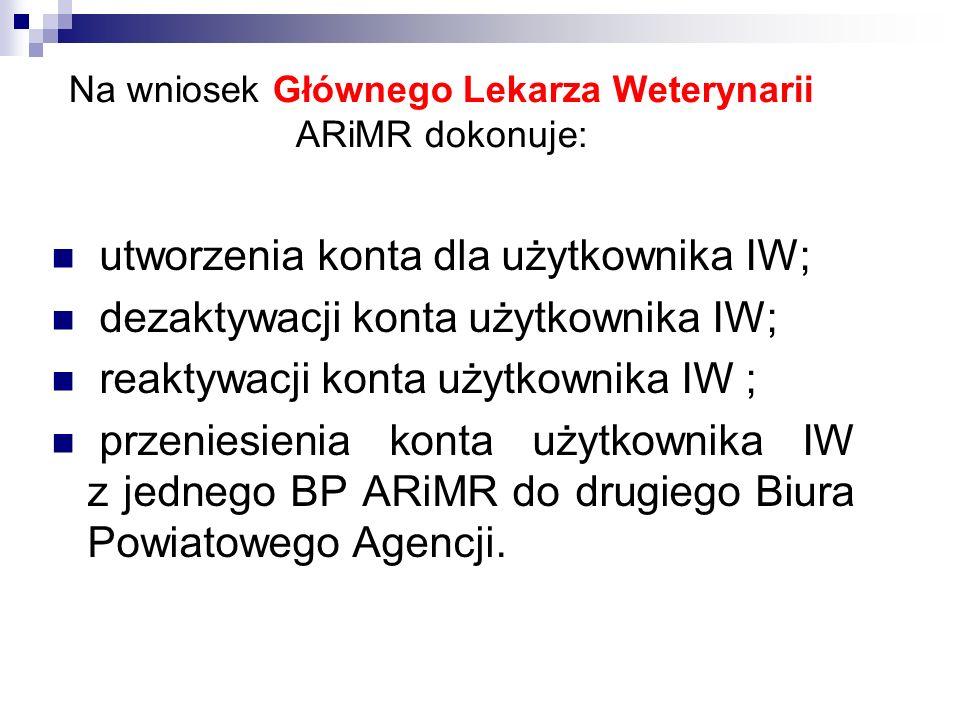 Na wniosek Głównego Lekarza Weterynarii ARiMR dokonuje: