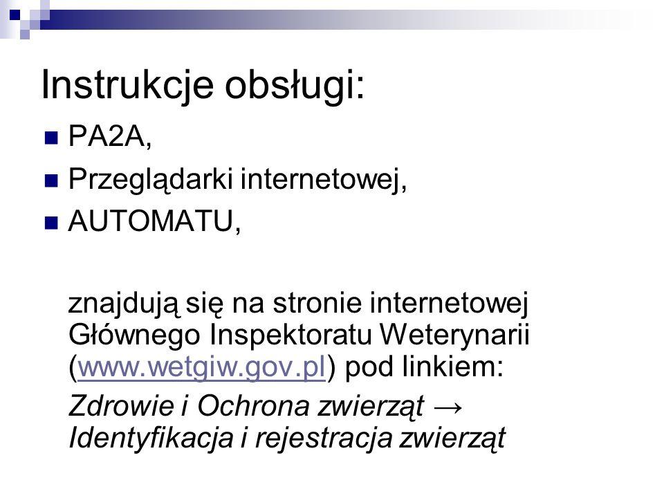 Instrukcje obsługi: PA2A, Przeglądarki internetowej, AUTOMATU,