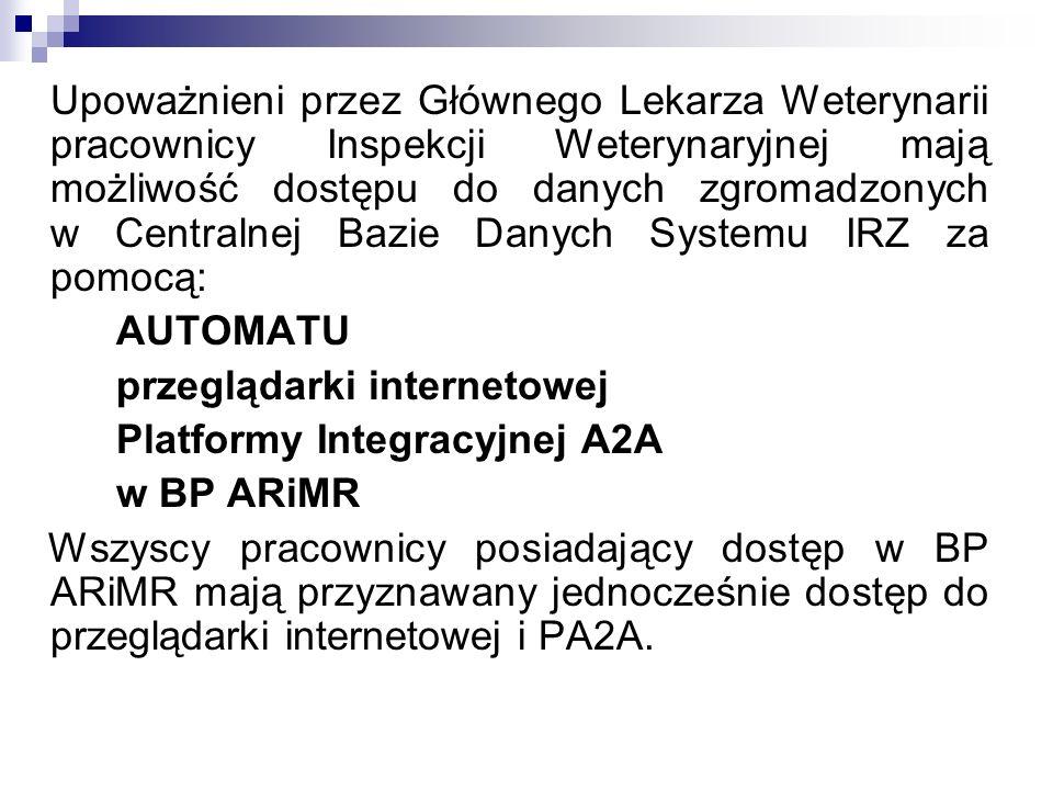 przeglądarki internetowej Platformy Integracyjnej A2A w BP ARiMR