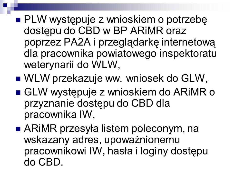 PLW występuje z wnioskiem o potrzebę dostępu do CBD w BP ARiMR oraz poprzez PA2A i przeglądarkę internetową dla pracownika powiatowego inspektoratu weterynarii do WLW,