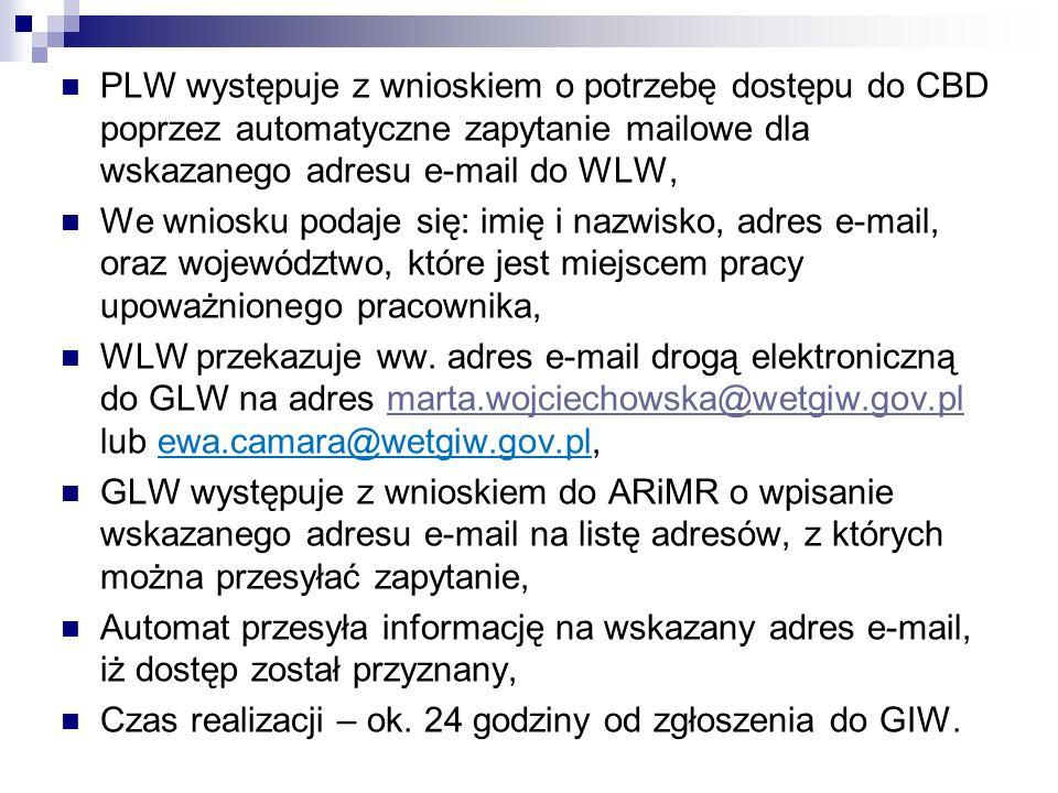 PLW występuje z wnioskiem o potrzebę dostępu do CBD poprzez automatyczne zapytanie mailowe dla wskazanego adresu e-mail do WLW,