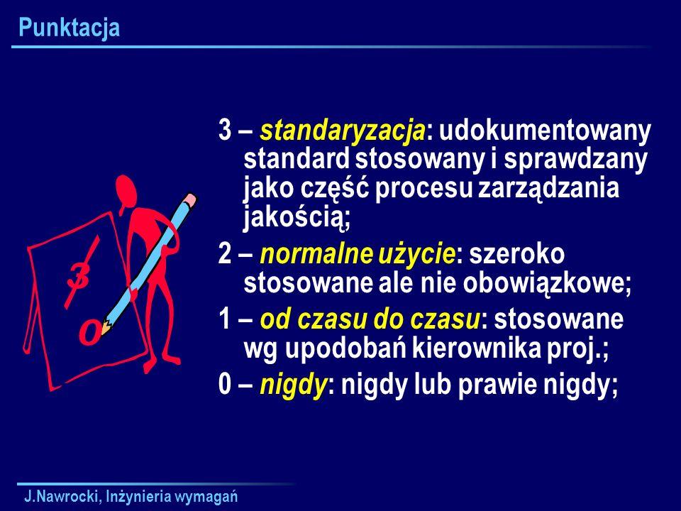 Punktacja3 – standaryzacja: udokumentowany standard stosowany i sprawdzany jako część procesu zarządzania jakością;