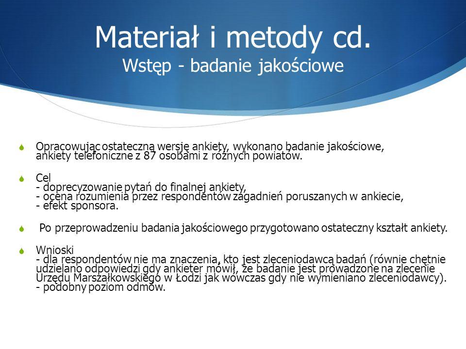 Materiał i metody cd. Wstęp - badanie jakościowe