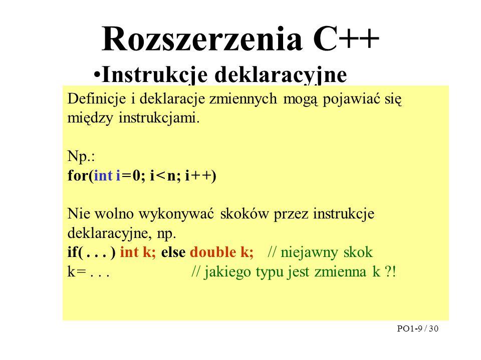 Rozszerzenia C++ Instrukcje deklaracyjne Zmienne referencyjne