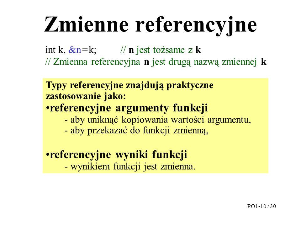Zmienne referencyjne referencyjne argumenty funkcji
