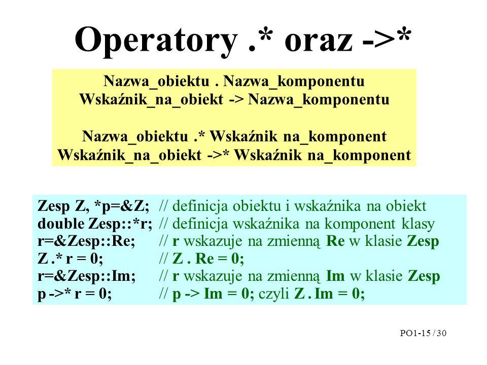 Operatory .* oraz ->*