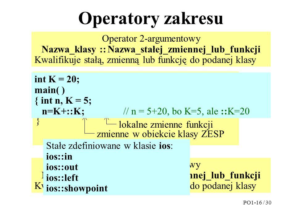 Operatory zakresu Operator 2-argumentowy