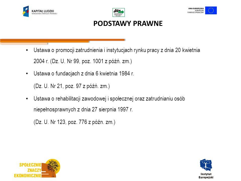 PODSTAWY PRAWNE Ustawa o promocji zatrudnienia i instytucjach rynku pracy z dnia 20 kwietnia 2004 r. (Dz. U. Nr 99, poz. 1001 z późń. zm.)