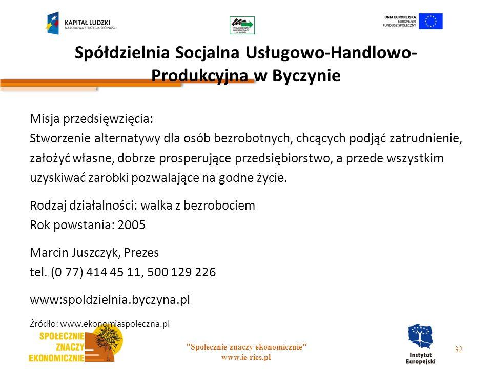 Spółdzielnia Socjalna Usługowo-Handlowo- Produkcyjna w Byczynie
