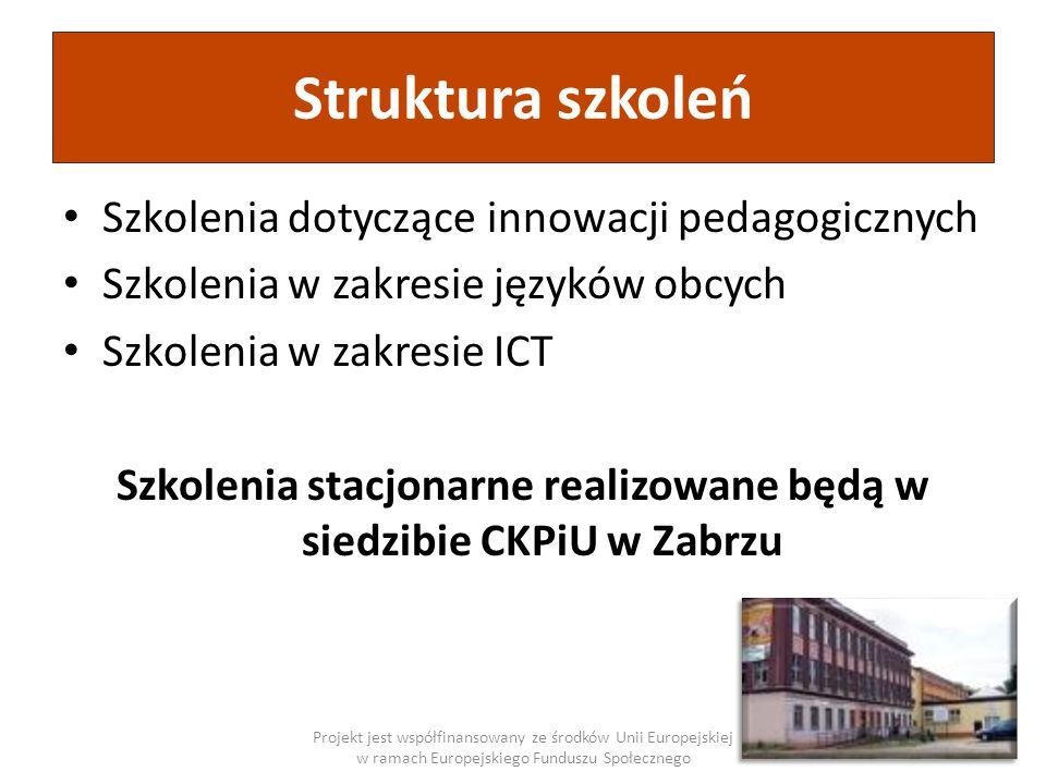 Szkolenia stacjonarne realizowane będą w siedzibie CKPiU w Zabrzu