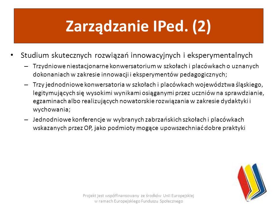 Zarządzanie IPed. (2)Studium skutecznych rozwiązań innowacyjnych i eksperymentalnych.